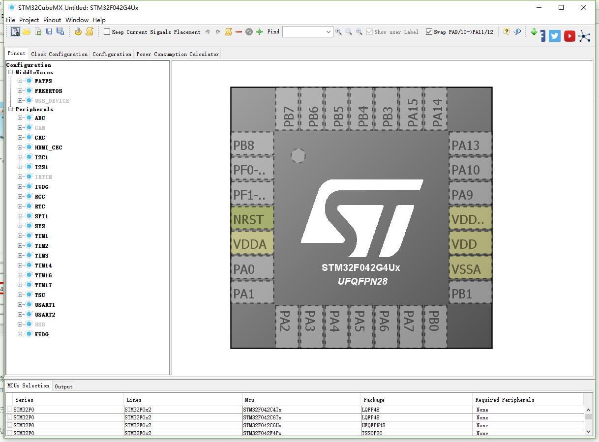 STM32F042G模块HAL库函数示例cubeMX综合配置